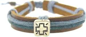 Cross Bracelet Leather with Cording