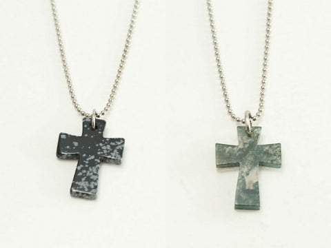 Genuine Gemstone Malta Cross Necklace