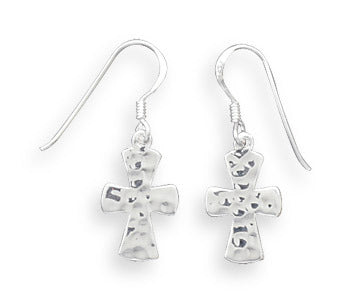 Hammered Silver Cross French Wire Earrings
