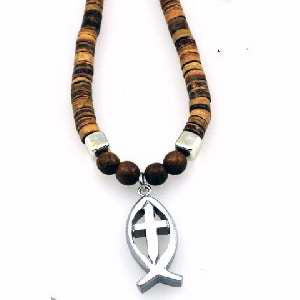 Ichthys Cross Necklace with wood beads