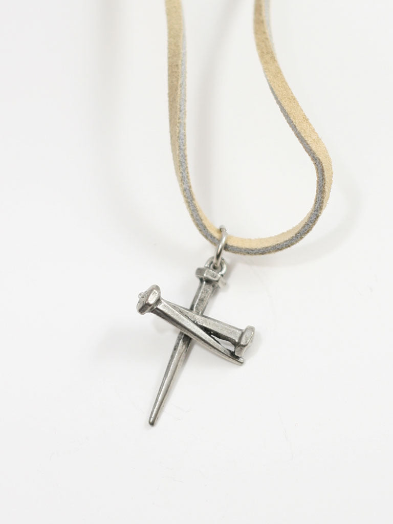Three Nail Cross on Suede Necklace