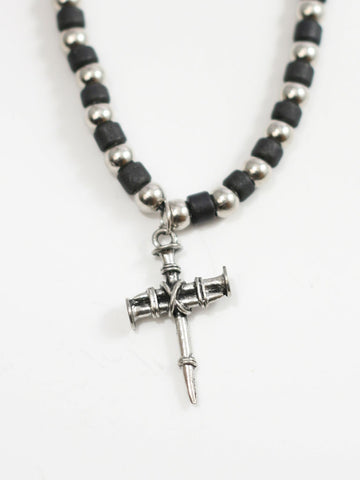 Nail Cross with BLK/silver Beads