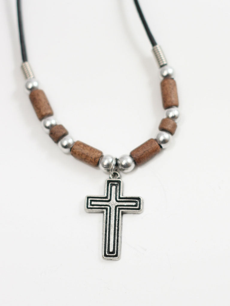 Cross Brown Beads Christian Necklace