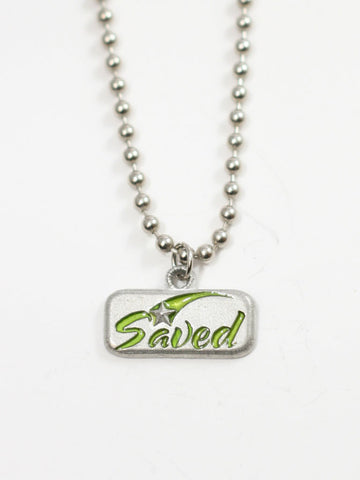 Simple SAVED Star Tag Necklace