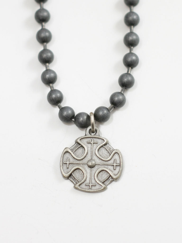 Cross on Brushed Metal Ball Chain Christian Necklaced