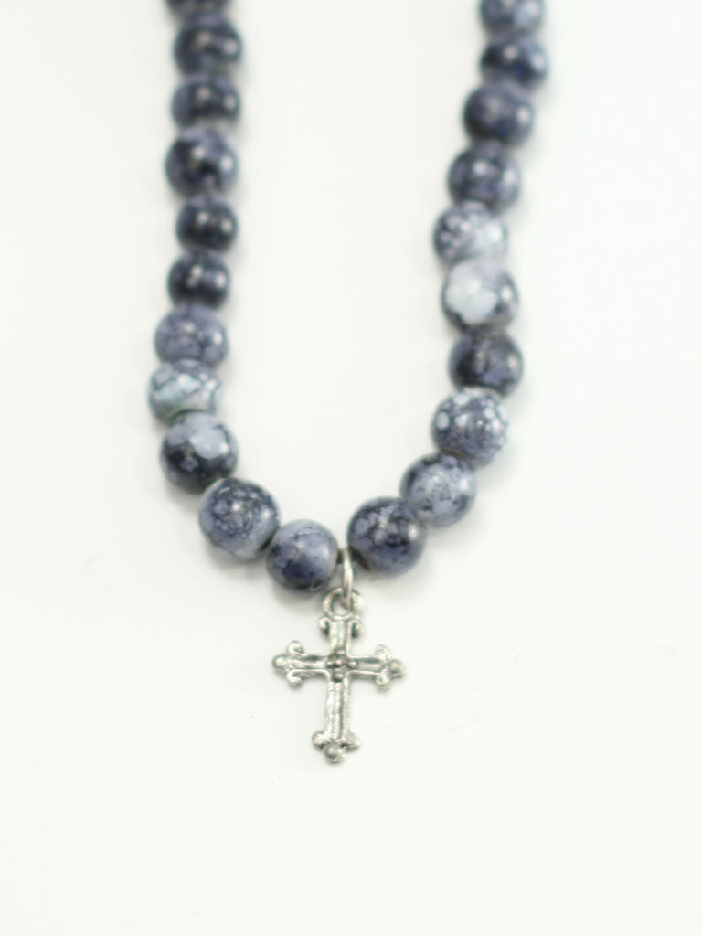 Cross Black Bead Christian Necklace