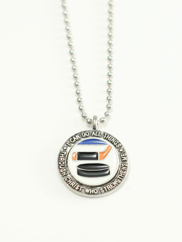 HOCKEY  Medallion Christian Necklace