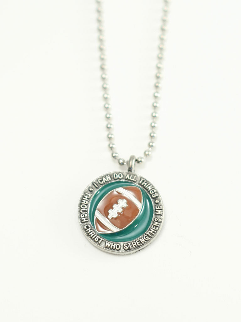 FOOTBALL  Medallion Christian Necklace
