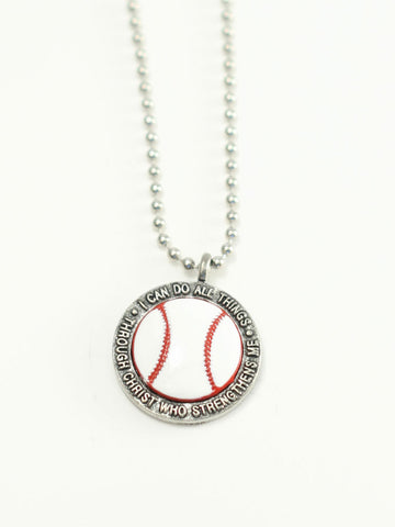 Baseball Softball I Can Do Christian Necklace Philippians 4:13