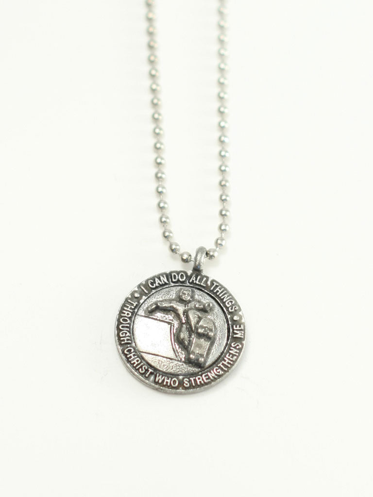Skateboard Medallion Christian Necklace