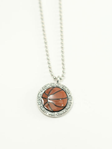 Basketball Medallion I Can Do All things Christian Necklace Philippians 4:13