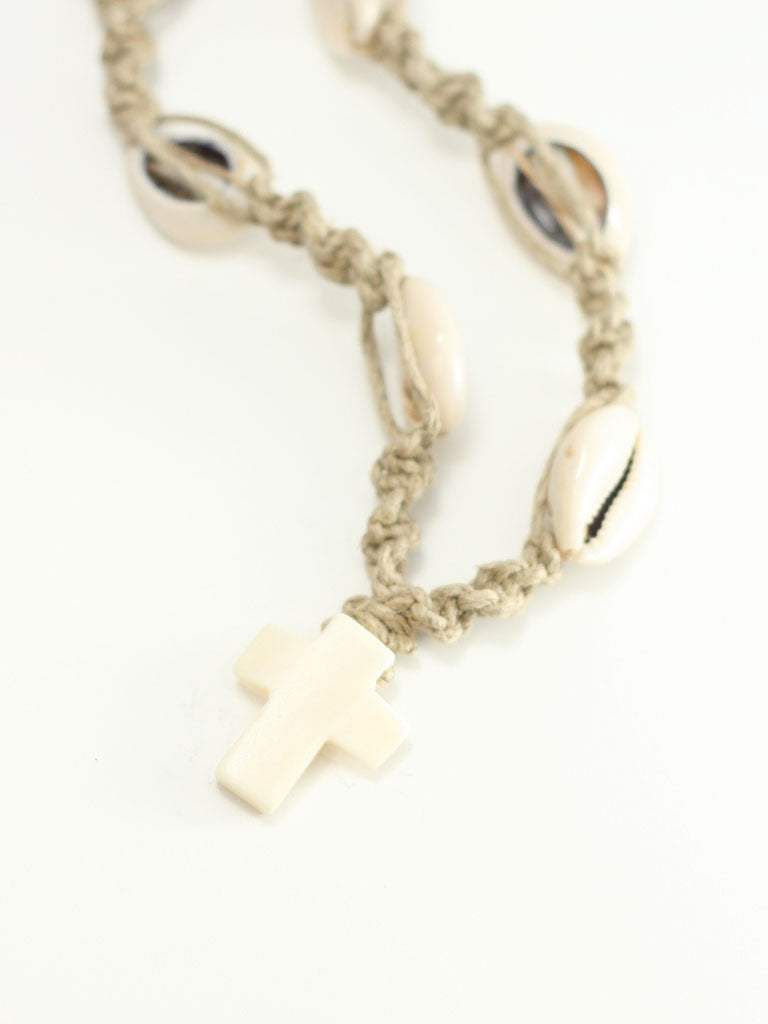 Hemp Cross Necklace with Sea Shells