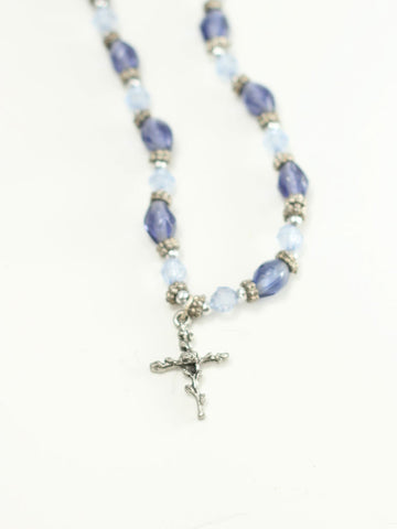 Rose of Sharon Cross on Blue Beads