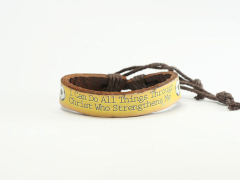 "Soccer  ""Can Do"" Leather Bracelet"