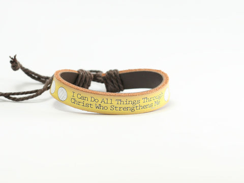 "Volleyball ""Can Do"" Leather Bracelet"