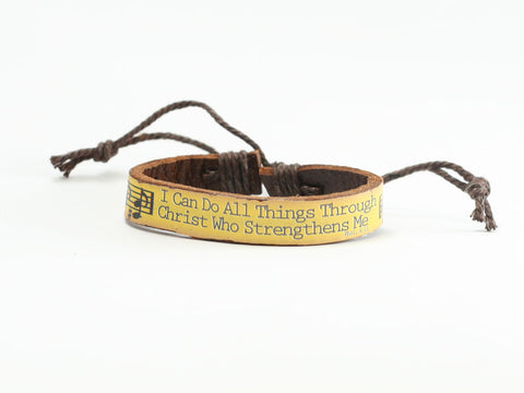 "Music ""Can Do"" Leather Bracelet"