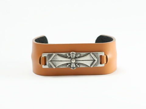 Gothic Cross Leather Cuff Bracelet