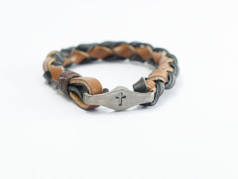 Cross Braided Leather Christian Bracelet