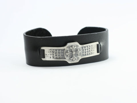 Flare Cross Leather Cuff Bracelet