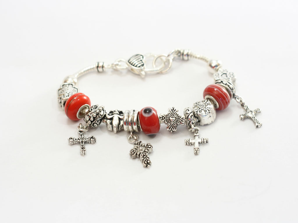 Red Story Bead Cross Charm Bracelet