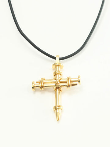 Gold Triple Nail Cross Necklace