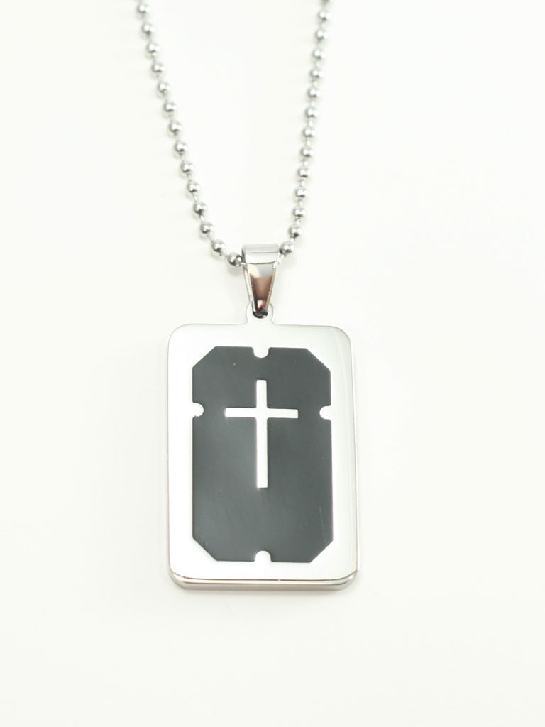 Black Cross Pendant Stainless Steel Christian Necklace