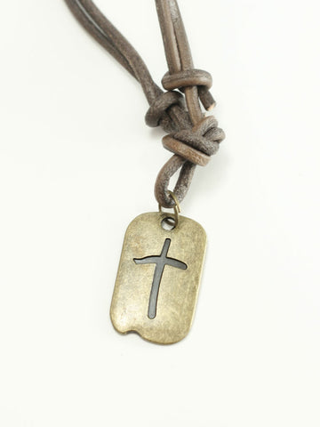 Cross Tag Leather Christian Necklace