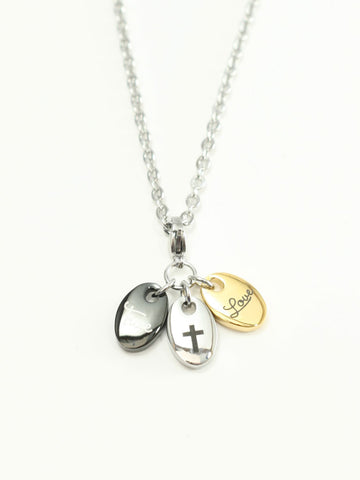 Purity Triple Stainless 3 Charm Necklace