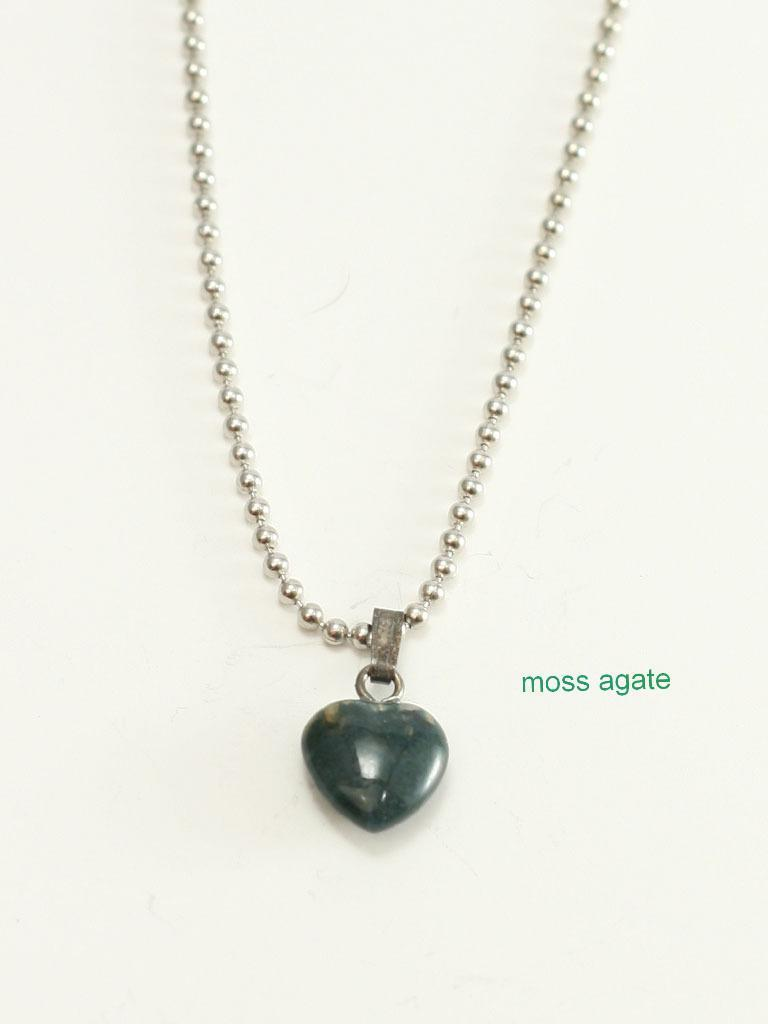 Genuine Gemstone Mini Heart Christian Necklace