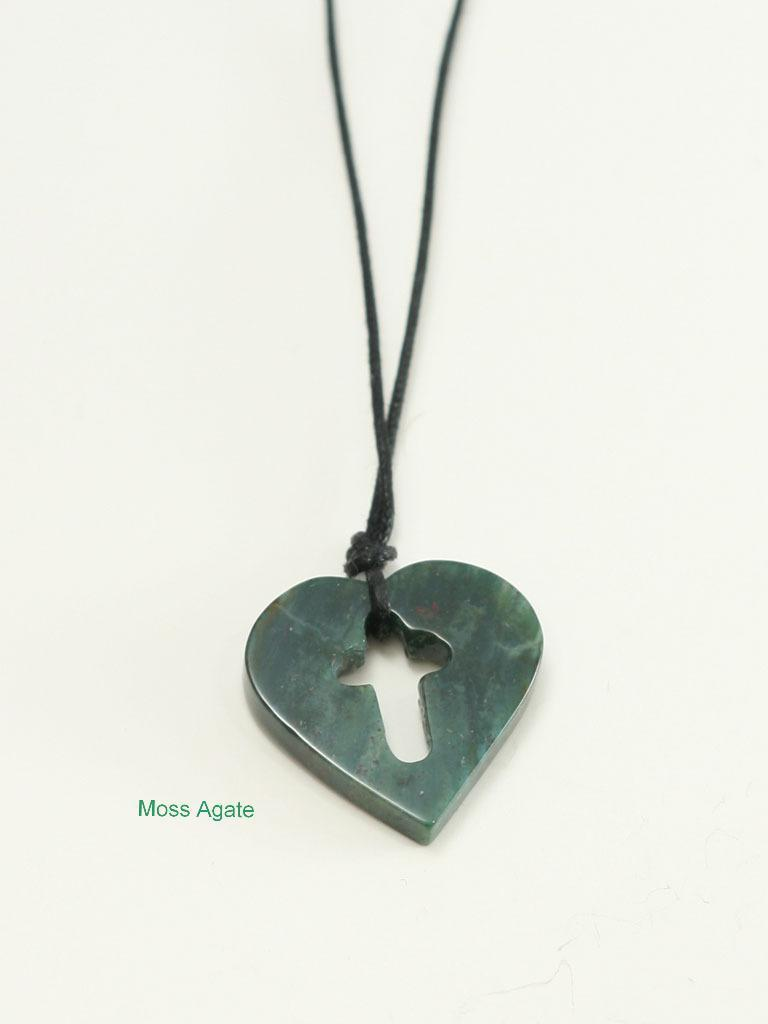 Genuine Gemstone Cutout Cross Within Heart Necklace