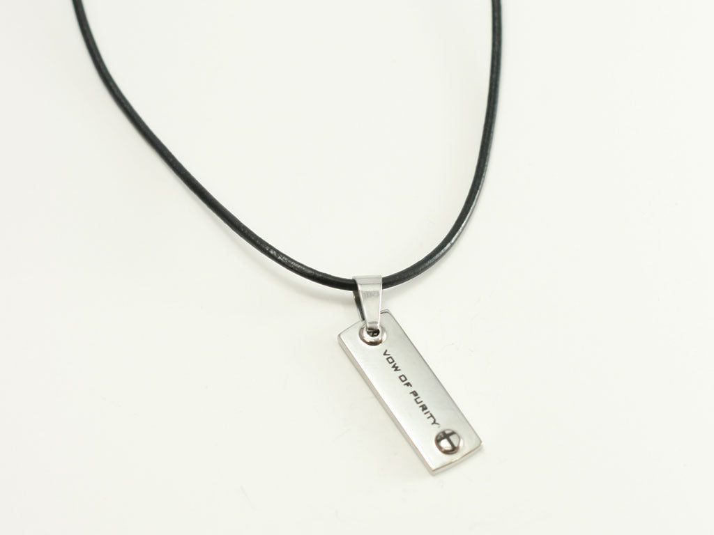 Vow of Purity Stainless Steel Necklace with Cross Button