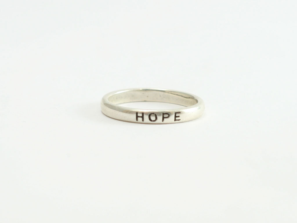 Oxidized Hope Sterling Christian Ring