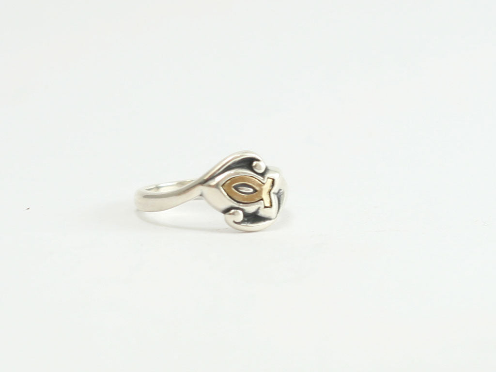 Gold Swirl Ichthus Fish Symbol Ring