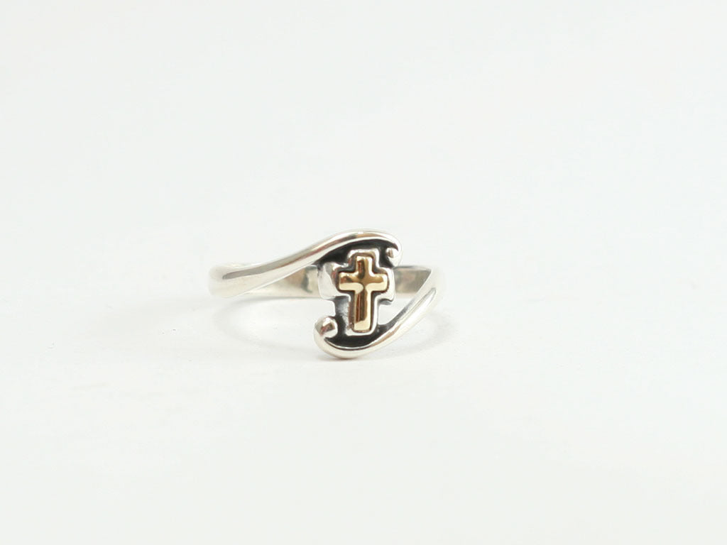 Swirl Gold Cross Sterling Ring