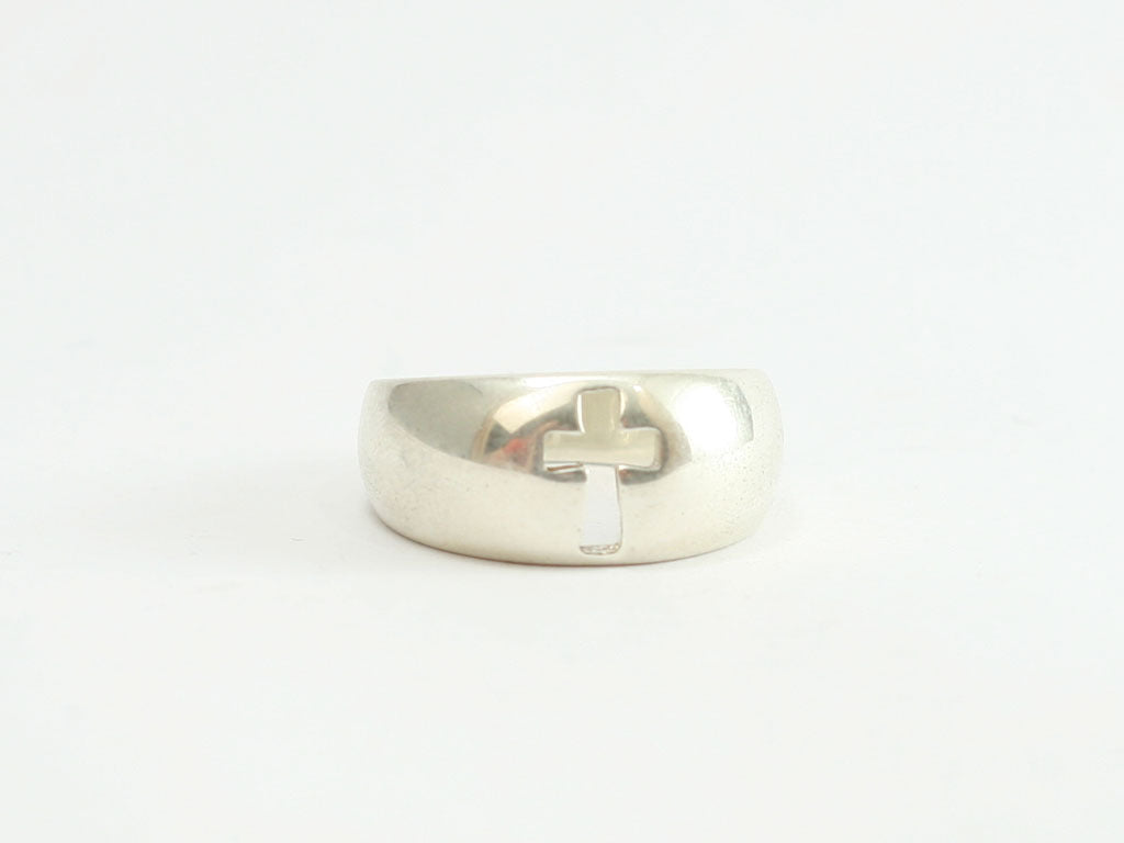 Rounded Cutout Cross Sterling Ring