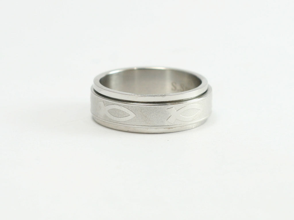 Ichthus Stainless Spinner Ring