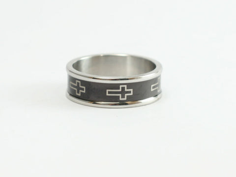 Rimmed Black Cross Ring