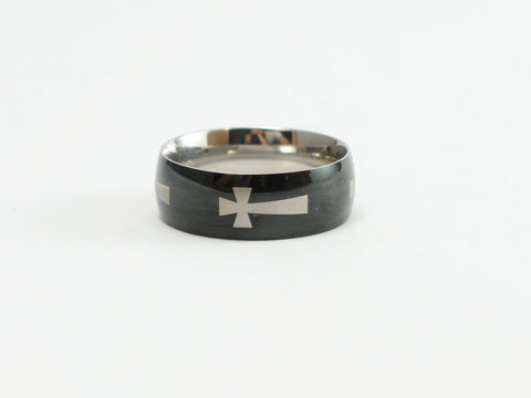 Malta Cross Black Stainless Steel Christian Ring