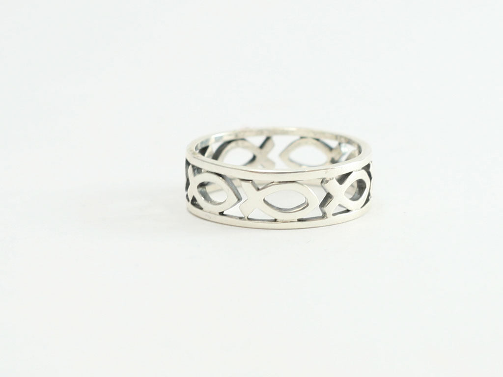 Wide Cut Out Ichthus Band Sterling Silver Christian Ring