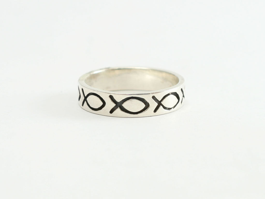 Sterling Silver Ichthus/Fish Flat Band Ring