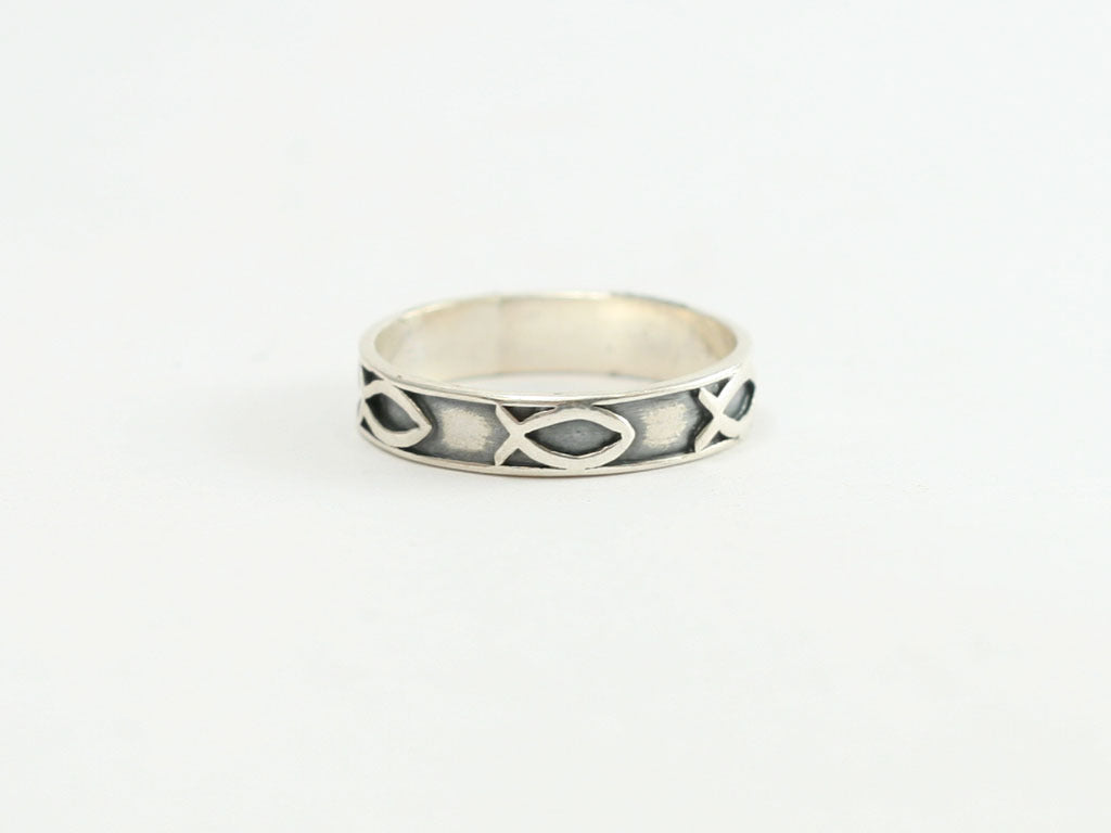 Fish / Ichthus Small Sterling Band Ring with Black Bkgd