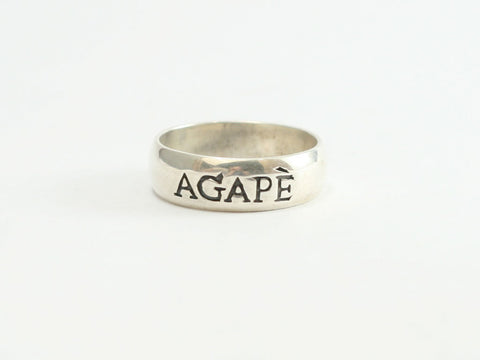 Large Sterling Agape Christian Ring