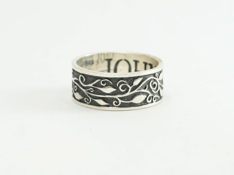 Sterling Silver Vine and Branches Christian Ring