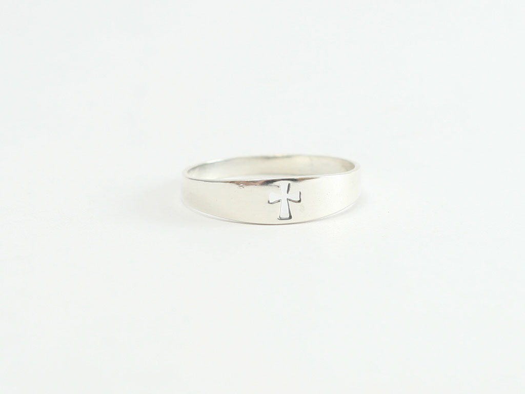 Cutout Cross Sterling Silver Christian Ring