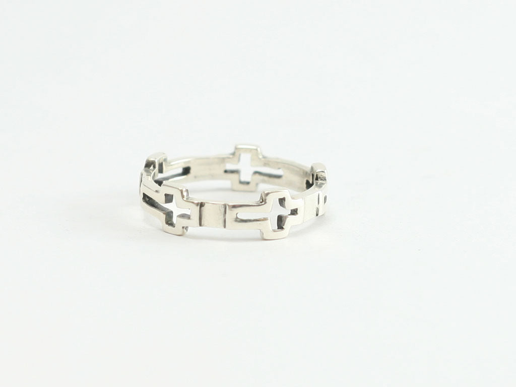 Small Continuous Cross Cutout Sterling Ring