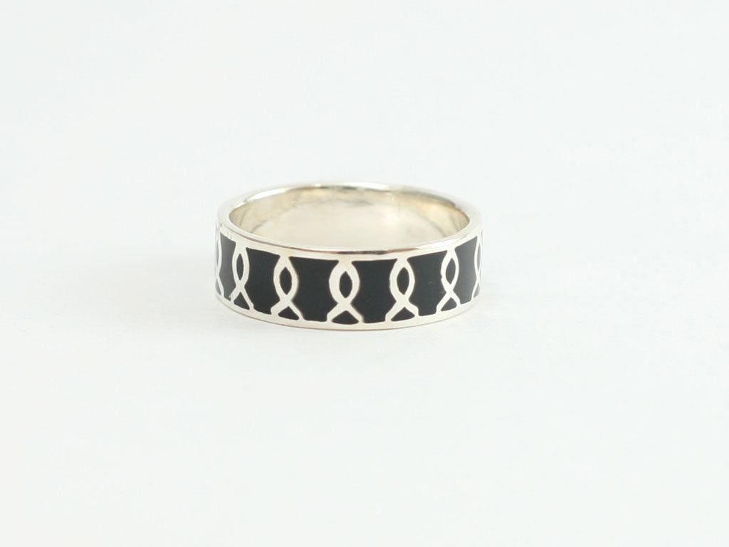Tall Ichthus  Band Ring