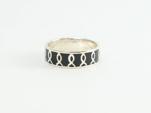 Side Cross Sterling Band Ring w/Blk Bkgd