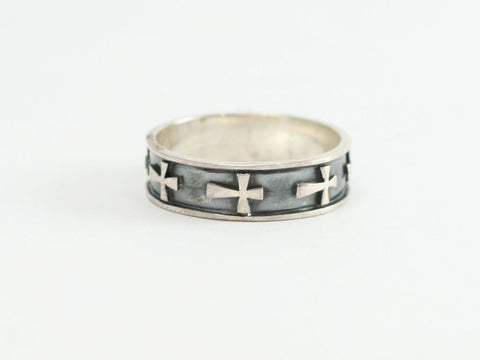 Sterling Side Raised Crosses Ring with Blk Bkgd