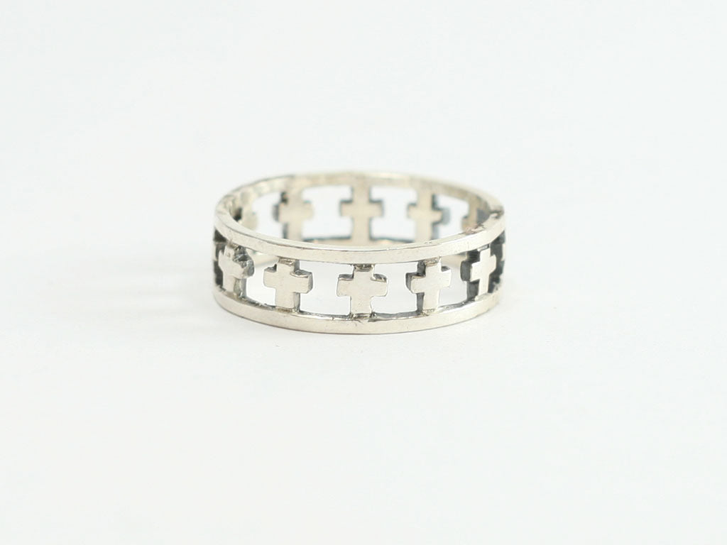 Continuous Cross Cutout Sterling Silver Christian  Ring