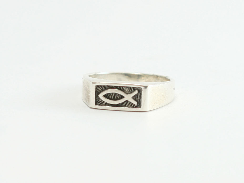 Sterling REQ Signet Ichthus Symbol Christian Ring